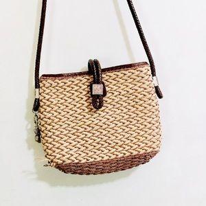 • brighton leather & woven straw handbag •